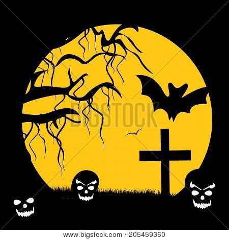 illustration of moon, bat, cross, tree and pumpkin face on the occasion of Halloween