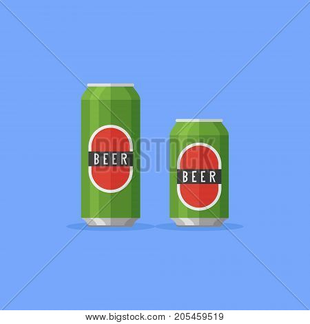 Aluminum beer cans 500 and 330 ml isolated on blue background. Flat style vector illustration.