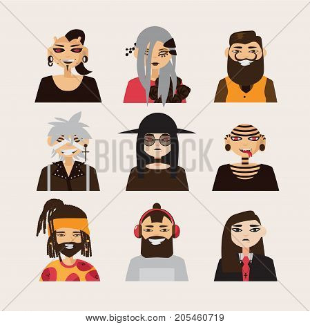 Vector set with male subcultural characters. Rasta body modification hipster goth visual kei guys