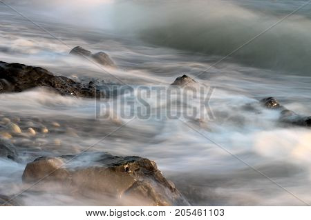 seascape, sea stones, stones in water, stone on the coast, sea wave, wave and rock