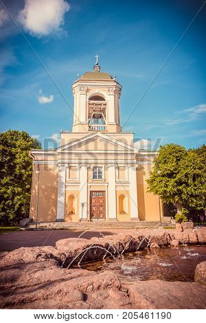 Vyborg, Russia – July  8, 2017: Lutheran Cathedral Of Saints Peter And Paul In Vyborg, Russia On A S