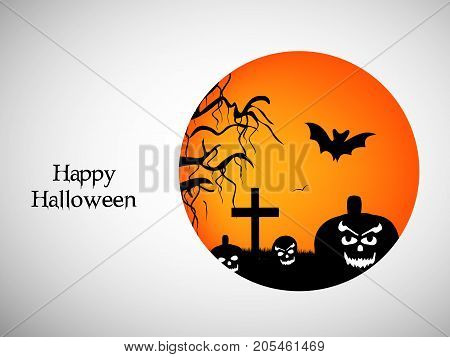 illustration of bat, cross, tree and pumpkin faces with happy Halloween text on the occasion of Halloween
