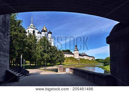 Pskov. Kremlin in Pskov, Russia. Ancient fortress.
