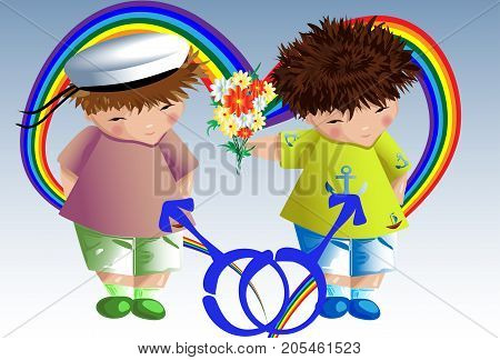 Gay couple. The guy gives flowers to his boyfriend. Love of two young men. Homosexual love. Family of gays. LGBT pair.