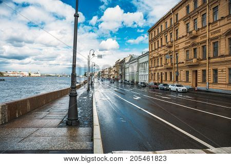 St. Petersburg, Russia - Circa June 2017: The embankment of St. Petersburg after the rain on a summer day