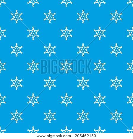 Sheriff star pattern repeat seamless in blue color for any design. Vector geometric illustration