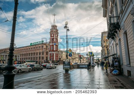 St. Petersburg, Russia - Circa June 2017: The historical center of St. Petersburg, Nevsky Prospekt, pavement, urban traffic, ancient buildings