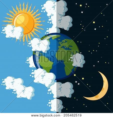 Day and night on the planet Earth concept. Sun on cloudy sky and moon on dark star sky around green and blue Earth globe. Educational geography for kids. Cartoon vector illustration in flat style. poster