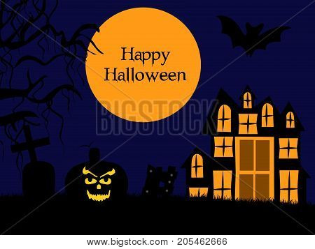 illustration of moon, house and pumpkin face with happy Halloween text on the occasion of Halloween