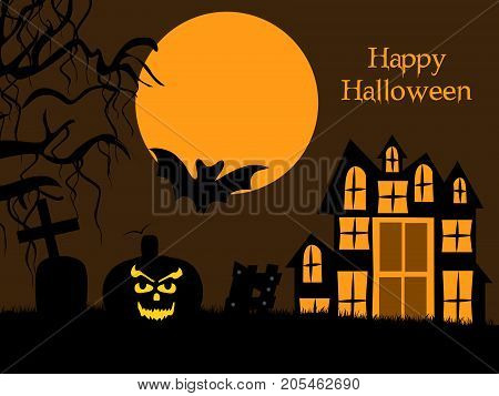 illustration of moon, bat, pumpkin, cross and building with happy Halloween text on the occasion of Halloween
