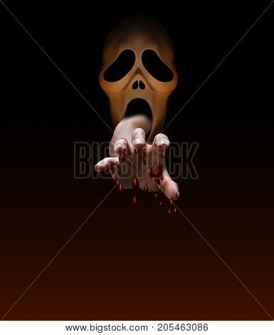 Male Hand,full With Blood, Stretch Out From Mouth Of Spooky Halloween Mask