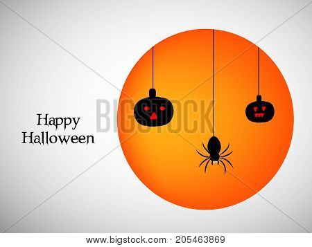 illustration of hanging pumpkins and spider with happy Halloween text on the occasion of Halloween