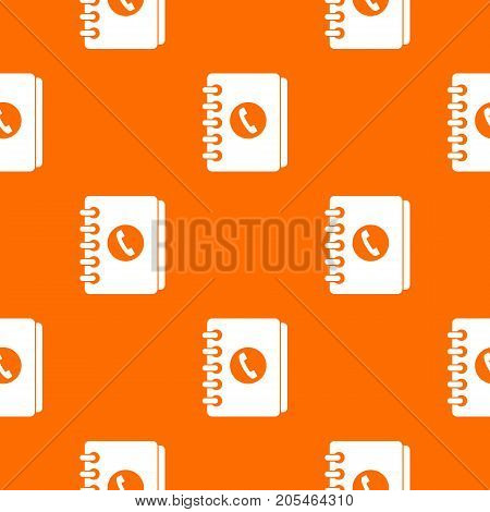Address book pattern repeat seamless in orange color for any design. Vector geometric illustration