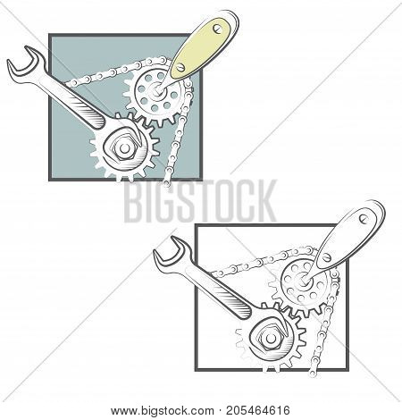 illustration consisting of two images of a wrench and a screwdriver in the form of a symbol