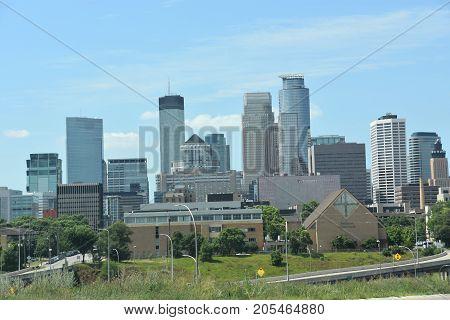 MINNESOTA, MINNEAPOLIS - JUL 27: Downtown Minneapolis in Minnesota, as seen on July 27, 2017. Minneapolis is the largest city in the state of Minnesota.