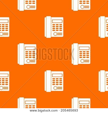 Office business keypad phone pattern repeat seamless in orange color for any design. Vector geometric illustration
