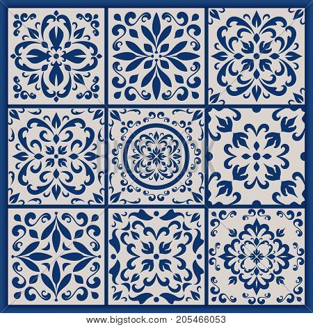 Blue and white ornate Portuguese tiles. Traditional azulejo patterns. Simple mandala ornaments. Vector set of ornamental ceramic tiles in Lisbon style. Decorative maiolica design.