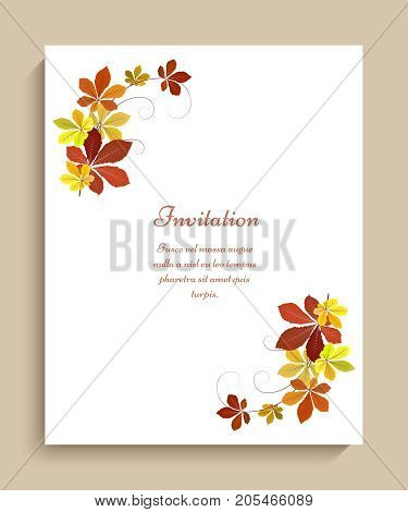 Vector autumn background with corner decoration of yellow chestnut leaves, fall season greeting card or invitation template