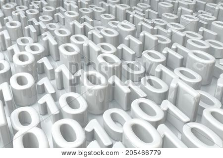 White zero one numbers abstract surface 3d illustration horizontal