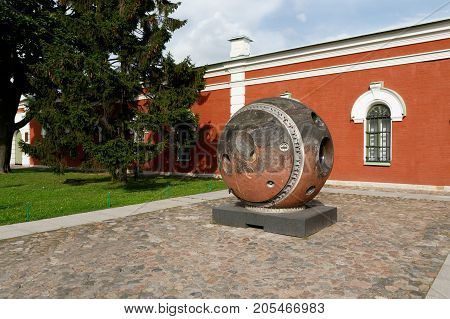 SAINT-PETERSBURG, RUSSIA - August 18,  2017 -  St. Peter and Paul fortress. An exhibit of the Space museum - topographical satellite