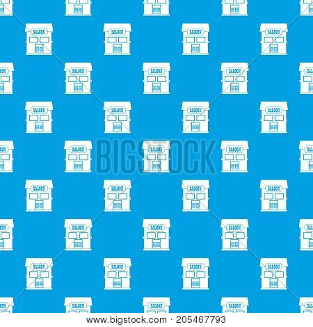 Western saloon pattern repeat seamless in blue color for any design. Vector geometric illustration