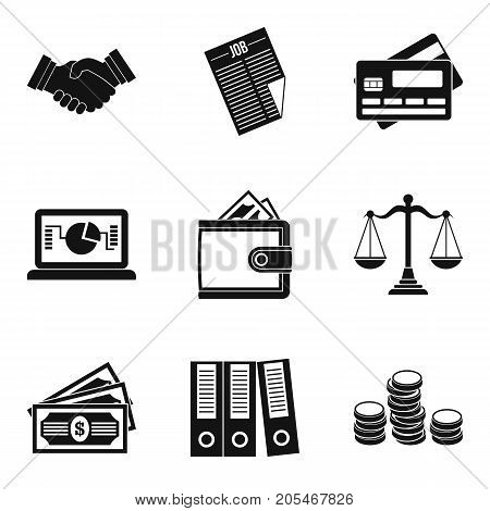 Wealthy financiers icons set. Simple set of 9 wealthy financiers vector icons for web isolated on white background