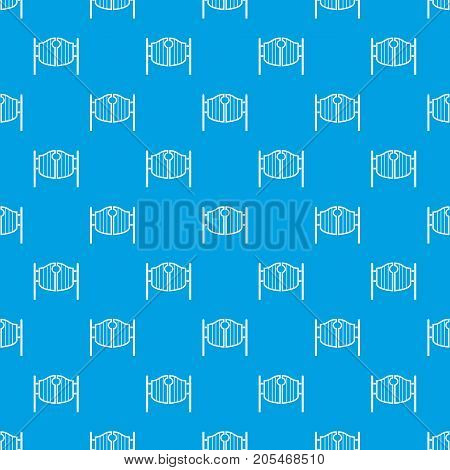 Vintage western swinging saloon doors pattern repeat seamless in blue color for any design. Vector geometric illustration