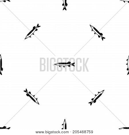 Saury pattern repeat seamless in black color for any design. Vector geometric illustration