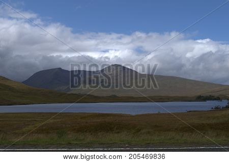 Looking towards Glencoe from Rannoch Moor in the Scottish Highlands.