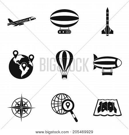 Intercontinental flight icons set. Simple set of 9 intercontinental flight vector icons for web isolated on white background
