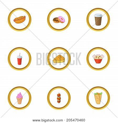 Tasty fast food icons set. Cartoon style set of 9 tasty fast food vector icons for web design