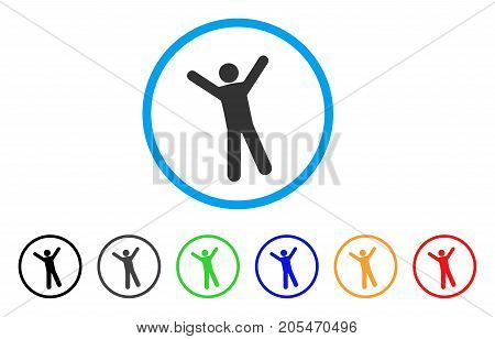 Man Joy rounded icon. Style is a flat man joy gray symbol inside light blue circle with black, gray, green, blue, red, orange color versions. Vector designed for web and software interfaces.