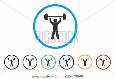 Power Lifting rounded icon. Style is a flat power lifting grey symbol inside light blue circle with black, gray, green, blue, red, orange color versions.