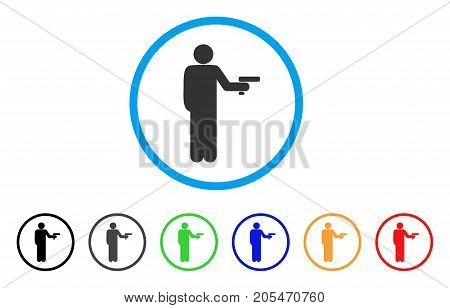 Robber With Gun rounded icon. Style is a flat robber with gun gray symbol inside light blue circle with black, gray, green, blue, red, orange variants. Vector designed for web and software interfaces.