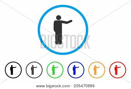 Showing Man rounded icon. Style is a flat showing man gray symbol inside light blue circle with black, gray, green, blue, red, orange color versions. Vector designed for web and software interfaces.