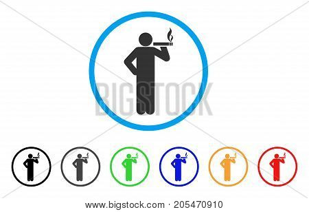 Smoking Man rounded icon. Style is a flat smoking man gray symbol inside light blue circle with black, gray, green, blue, red, orange versions. Vector designed for web and software interfaces.