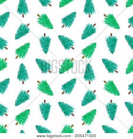 Green watercolor christmas trees seamless pattern background.