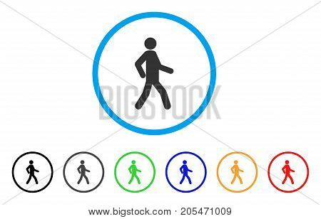 Walking Man rounded icon. Style is a flat walking man gray symbol inside light blue circle with black, gray, green, blue, red, orange versions. Vector designed for web and software interfaces.