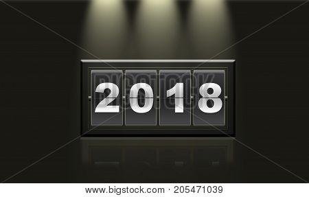 2018 New Year On Calendar.
