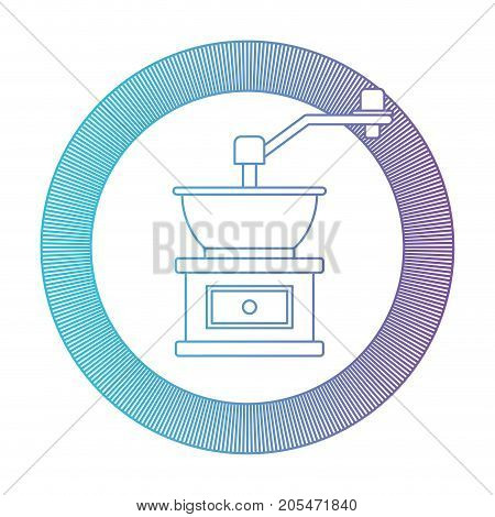circular logo shield decorative of coffee grinding with crank gradient color silhouette from blue to purple vector illustration