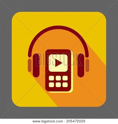 Listen music in headset concept background. Cartoon illustration of listen music in headset vector concept background for web design