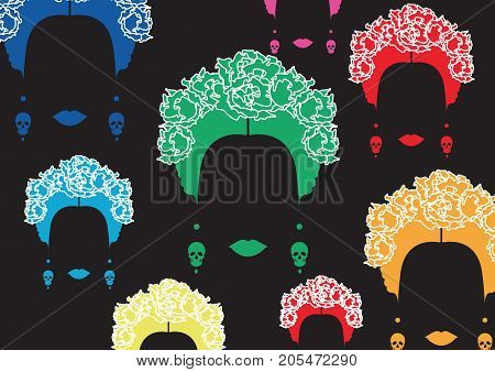 background multicolors portrait of Mexican or Spanish woman, minimalist  traditional hairstyle with earrings skulls, vector isolated