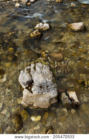 water resources, fishing, nature concept. shallow river with calm transparent waters is moving slowly and lazy, and stones on it is covering by moss and seaweeds over time