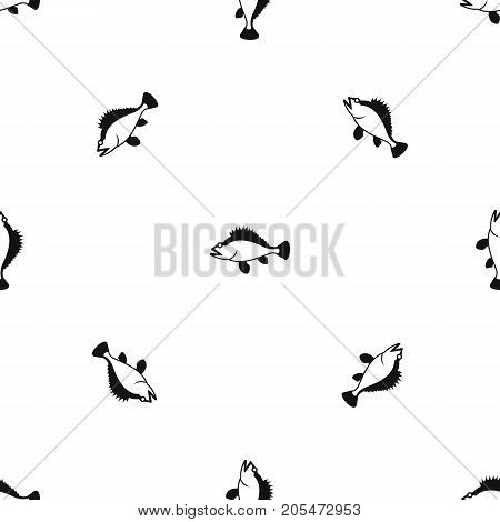Rose fish, Sebastes norvegicus pattern repeat seamless in black color for any design. Vector geometric illustration