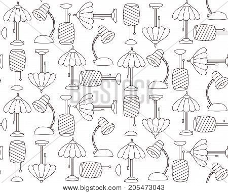 Doodle table lamps black and white outline seamless vector pattern