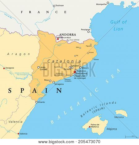 Catalonia political map with capital Barcelona, borders and important cities. Autonomous community of Spain on the northeastern extremity of Iberian Peninsula. English labeling. Illustration. Vector.