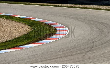 Auto motodrom race track curve with safety zone