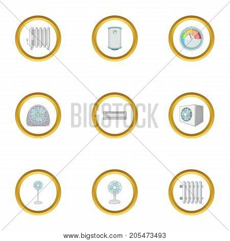 Electric heater icons set. Cartoon style set of 9 electric heater vector icons for web design