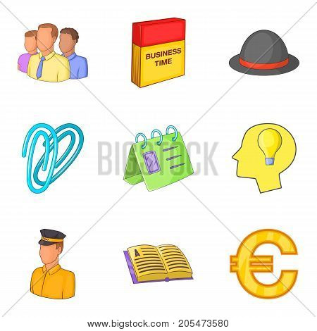 Job-work icons set. Cartoon set of 9 job-work vector icons for web isolated on white background