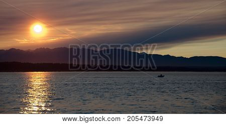 Picturesque Sunset In Puget Sound